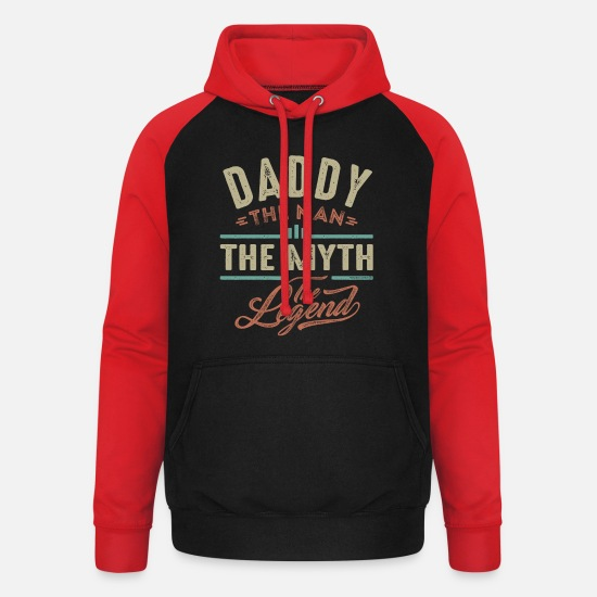 Father's Day Hoodies & Sweatshirts - Daddy The Myth - Unisex Baseball Hoodie black/red