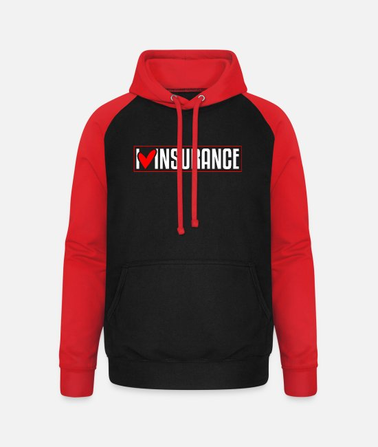 Heart Hoodies & Sweatshirts - Insurance agency - Unisex Baseball Hoodie black/red