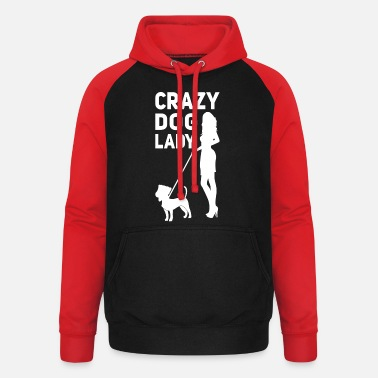 Lady crazy dog lady crazy dogs woman woman smoking dog - Unisex Baseball Hoodie