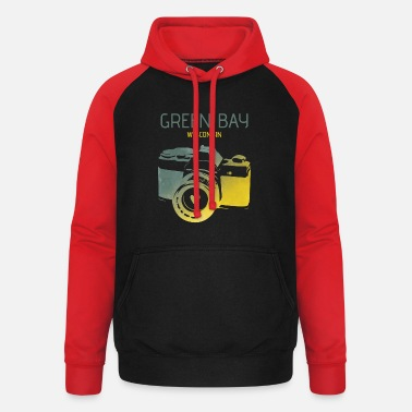 Green Bay Packers Green Bay camera with heart - Unisex Baseball Hoodie