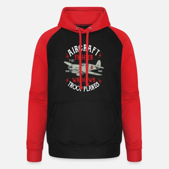 Gift Sweaters & hoodies - Aircraft Warhawk Troop Plane Fighter Gift Flight - Unisex baseball hoodie zwart/rood