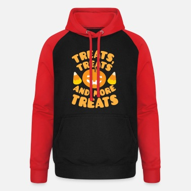 Treat Treats treats and more treats Pumpkin Candy corn - Unisex Baseball Hoodie