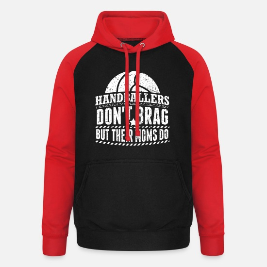 Handball Player Hoodies & Sweatshirts - Funny Handball Handballer Shirt Do not Brag - Unisex Baseball Hoodie black/red