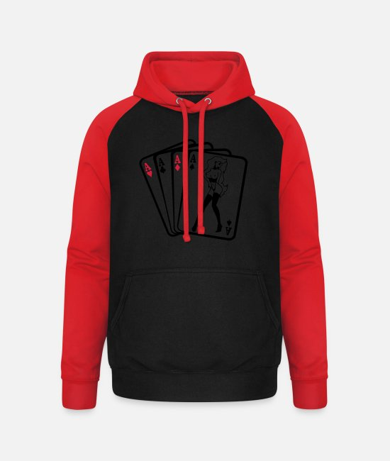 I Love Hoodies & Sweatshirts - FOUR ASSES - Unisex Baseball Hoodie black/red