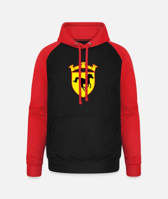 Family Crest Hoodies & Sweatshirts - yellow coat of arms black horse round gold - Unisex Baseball Hoodie black/red