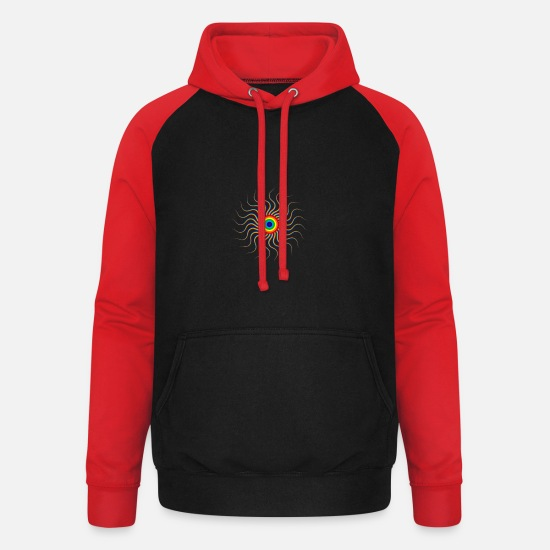 Sun Rays Hoodies & Sweatshirts - Rainbow sun - Unisex Baseball Hoodie black/red