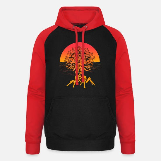 Enviromental Hoodies & Sweatshirts - Tree of life Summer Sunset Spiritual Yoga Shirt - Unisex Baseball Hoodie black/red