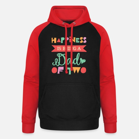 Gift Idea Hoodies & Sweatshirts - Luck is to be a dad of two children - Unisex Baseball Hoodie black/red