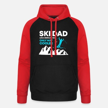 Ski Dad Funny Cute Winter Skiing Gift T Shirt - Unisex Baseball Hoodie