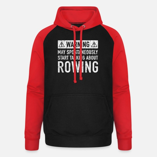 Rowing Hoodies & Sweatshirts - Original Rowing Gift: Order Here - Unisex Baseball Hoodie black/red