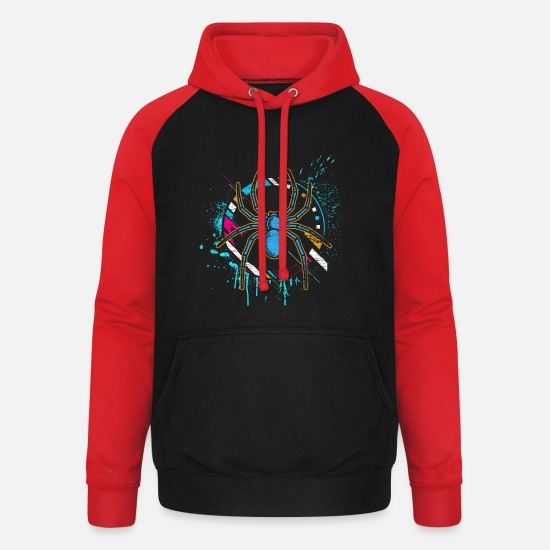 Toxic Hoodies & Sweatshirts - Spider poison phobia scared gift animal legs - Unisex Baseball Hoodie black/red