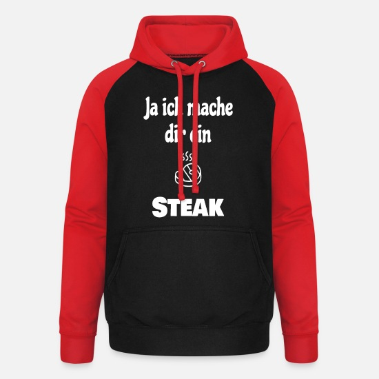 Barbecue Sweat-shirts - Grill Steak Grillmeister Grill saucisses charbon - Sweat à capuche baseball unisexe noir/rouge