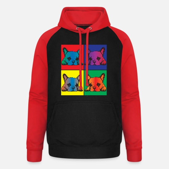 Art Sweat-shirts - Sweet Pop Dog Art Pop - Sweat à capuche baseball unisexe noir/rouge