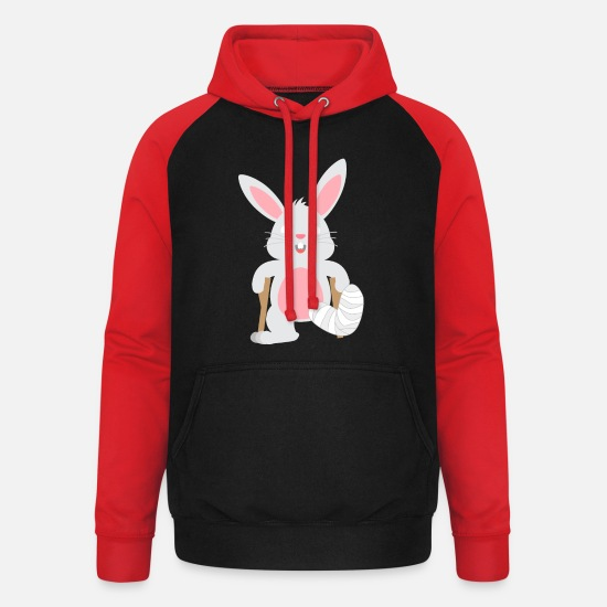 Birthday Hoodies & Sweatshirts - Children's shirt Rabbit with gypsum leg Animal Hare - Unisex Baseball Hoodie black/red