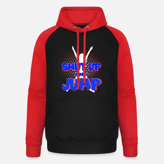 Gift Sweaters & hoodies - Shut Up And Jump Jumping Trampoline Jumpstyle - Unisex baseball hoodie zwart/rood