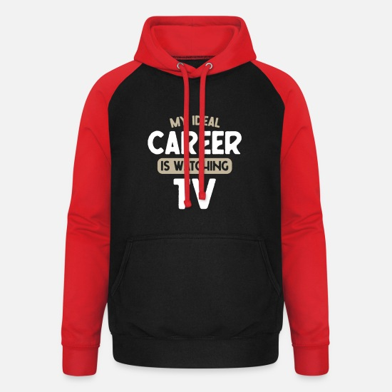Broadcast Hoodies & Sweatshirts - TV Career Watch TV - Unisex Baseball Hoodie black/red