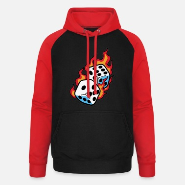 Dice burning dice dice player - Unisex Baseball Hoodie