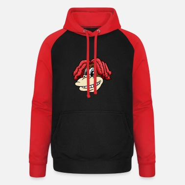 Charade Monkey head with cool hairstyle for lovers & kids - Unisex Baseball Hoodie