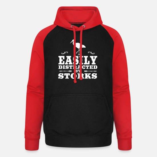 Stork Hoodies & Sweatshirts - Easily Distracted By Storks Funny Stork Design - Unisex Baseball Hoodie black/red