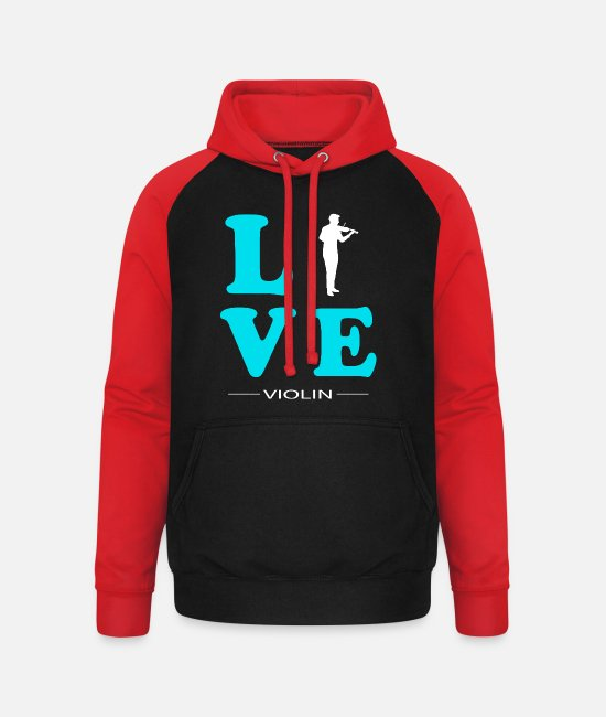 Hobby Cook Hoodies & Sweatshirts - VIOLIN LOVE - Unisex Baseball Hoodie black/red
