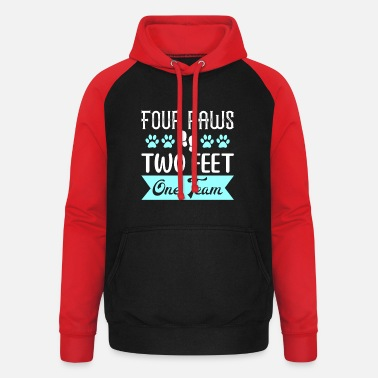 Feet Four Paws Two Feet One Team - Unisex Baseball Hoodie