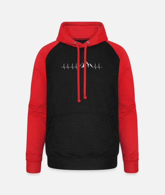 Mountains Hoodies & Sweatshirts - Climbing - climber heartbeat mountains - Unisex Baseball Hoodie black/red