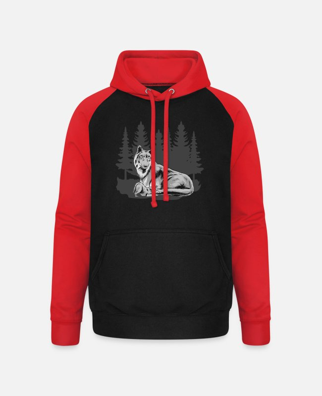 Nature Hoodies & Sweatshirts - Wolfskind Wolf Wolf pack Wolf mother forest shirt - Unisex Baseball Hoodie black/red