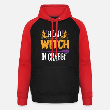 Horror Halloween Head Witch in Charge - Unisex Baseball Hoodie