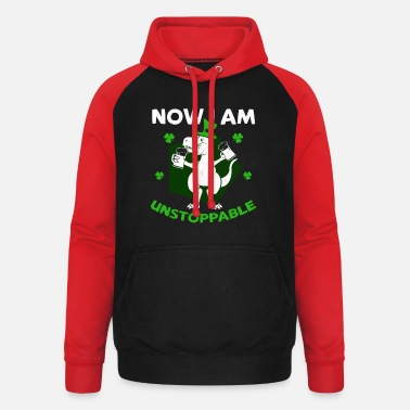 Leaf Now I Am Unstoppable T-Rex Beer Funny St Patricks - Unisex Baseball Hoodie