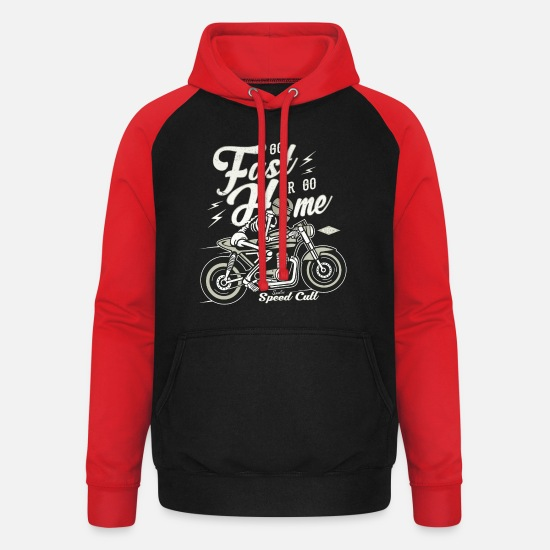 Bikes And Cars Collection Hoodies & Sweatshirts - Go Fast Or Go Home - Unisex Baseball Hoodie black/red