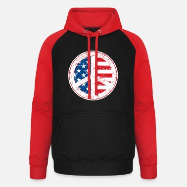 Hippie Movement USA flag america vacation hippie hippies US 60s - Unisex Baseball Hoodie