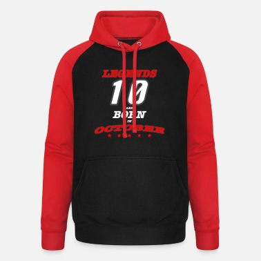 OCTOBER Legends Born - Unisex Baseball Hoodie