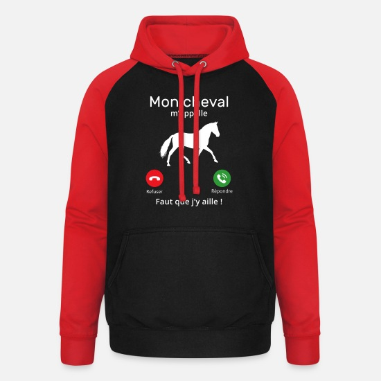 Cheval Sweat-shirts - Mon cheval m'appelle faut quẹ j'y aille T-shirt - Sweat à capuche baseball unisexe noir/rouge
