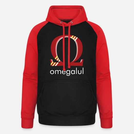 Twitch Hoodies & Sweatshirts - OMEGALUL striped - TWITCH EMOTE SHIRT - Unisex Baseball Hoodie black/red