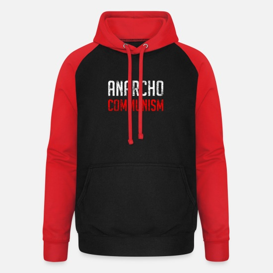 Anarchiste Sweat-shirts - Anarcho Communisme - Sweat à capuche baseball unisexe noir/rouge