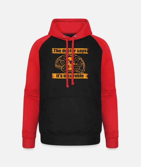 Mother Hoodies & Sweatshirts - doctor doc says incurable diagnosis skull totenkop - Unisex Baseball Hoodie black/red