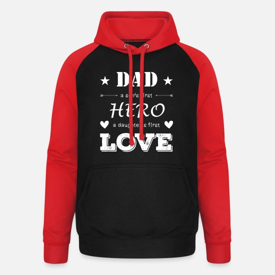 Play Hoodies & Sweatshirts - Dad - Unisex Baseball Hoodie black/red
