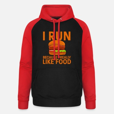 Running Run Burgers Cheeseburger Foodie Fat Eating - Unisex Baseball Hoodie