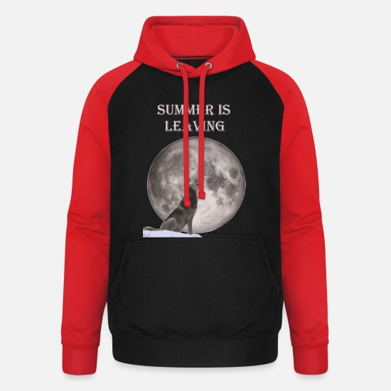Comic Hoodies & Sweatshirts - wolf howling - Unisex Baseball Hoodie black/red