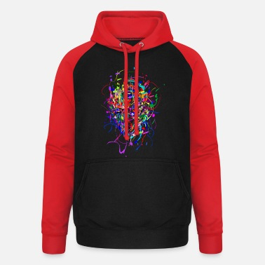 Multi Coloured Color - Bomb / Abstract / Face - Unisex Baseball Hoodie