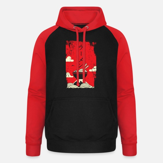 Japanese Hoodies & Sweatshirts - Ramen noodles Japanese art - Unisex Baseball Hoodie black/red