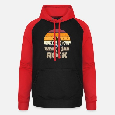 Wait I See A Rock geologist mountains stones - Unisex Baseball Hoodie