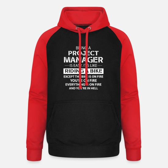 Project Hoodies & Sweatshirts - Being A Project Manager... - Unisex Baseball Hoodie black/red