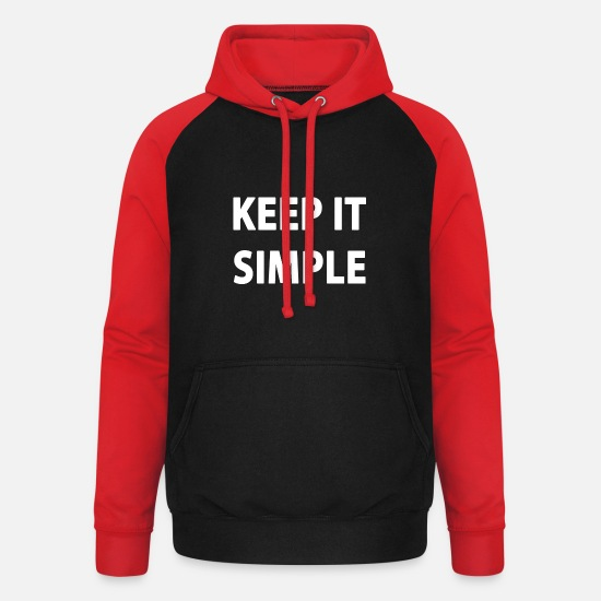Typography Hoodies & Sweatshirts - Keep it simple - Unisex Baseball Hoodie black/red