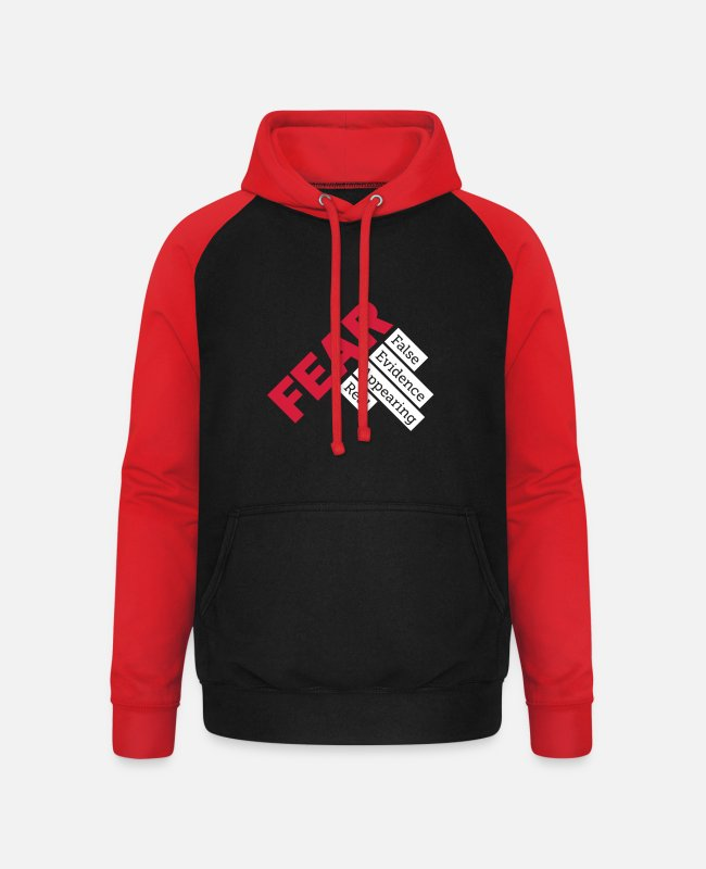 Fear Hoodies & Sweatshirts - Fear - False evidence appearing real - Unisex Baseball Hoodie black/red