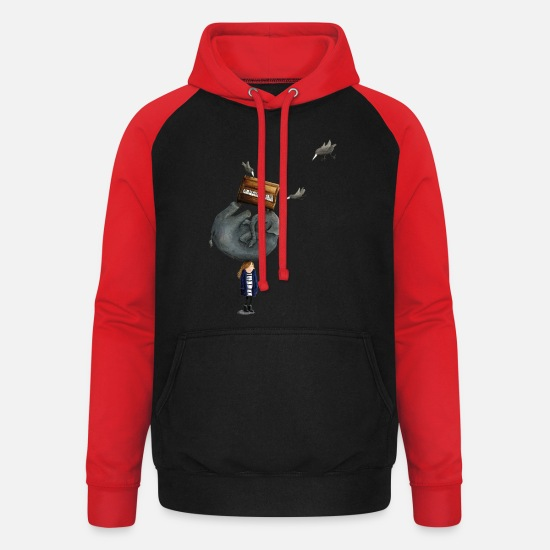 Funny Collection Sudaderas - Elephant On The Head - Sudadera con capucha de béisbol unisex negro/ rojo