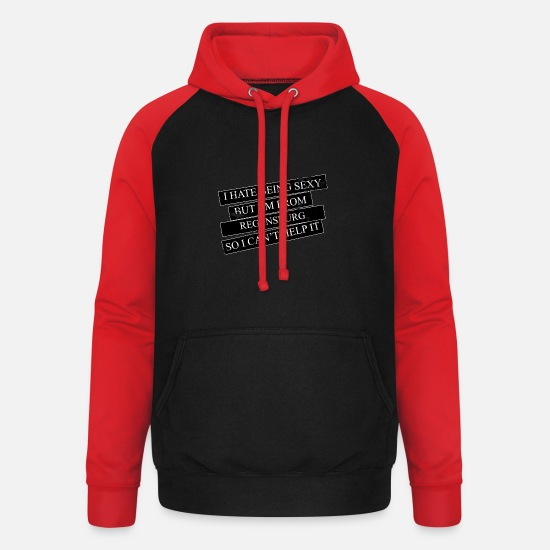 Birthday Hoodies & Sweatshirts - Motive for cities and countries - REGENSBURG - Unisex Baseball Hoodie black/red