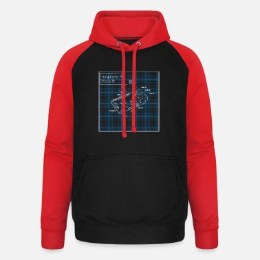 Model Raspberry Pi 3 Model B Blueprint - Unisex baseball hoodie