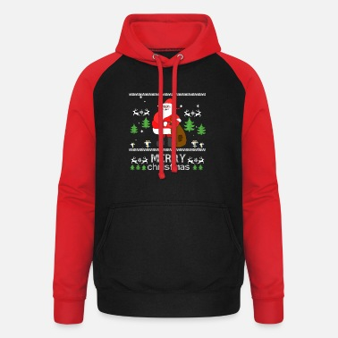 Merry Merry Christmas ugly ugly embroidery design - Unisex Baseball Hoodie