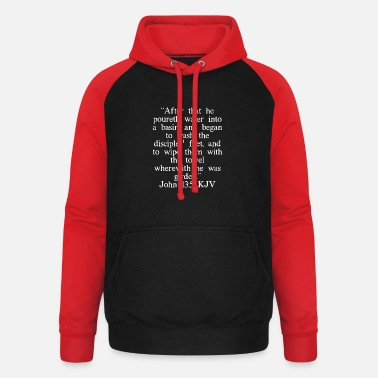 Bibel Johannes 13: 5 King James Version (weiße Schrift) - Unisex Baseball Hoodie